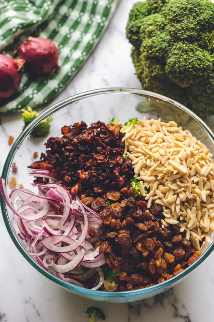 broccoli crunch salad ingredients in bowl