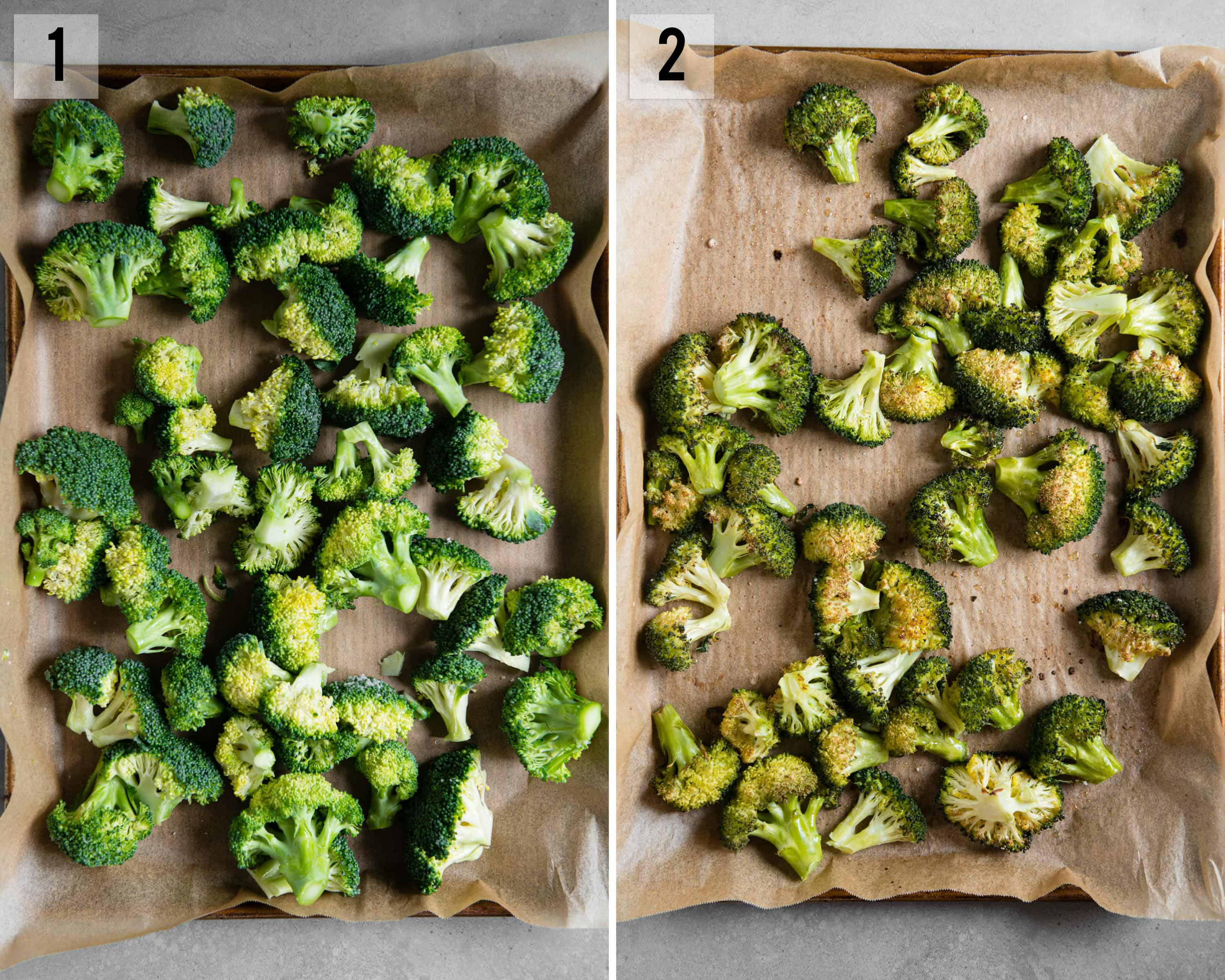 side by side process photos of roasted brocoli