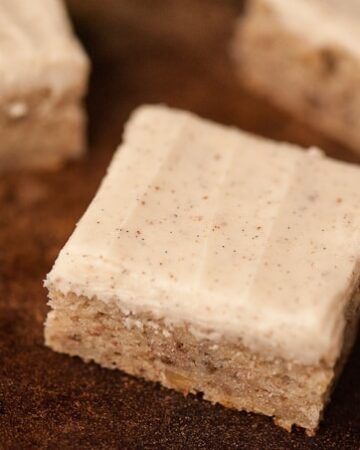Brown Butter Banana Bars topped with a heavenly brown butter vanilla bean frosting make the perfect portable dessert to share with friends and family.