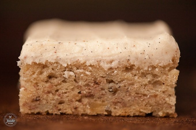 side view of a banana bar with vanilla bean frosting