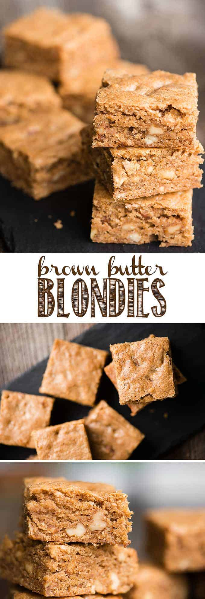 Brown Butter Blondies are a sweet and chewy dessert bar. Think of them as vanilla brownies. This blondie recipe cooks a vanilla bean and walnut pieces in butter until the browned butter becomes nutty and delicious. Brown sugar makes them chewy and perfectly sweet. These brown butter brownies will satisfy any craving! #blondies #blondierecipe #vanillabrownie