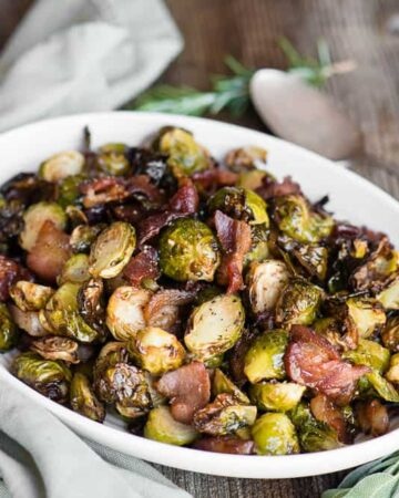 Brussels Sprouts and Bacon on oval platter