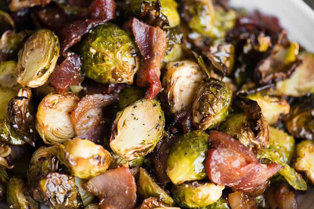 close up photo of Brussels Sprouts and Bacon