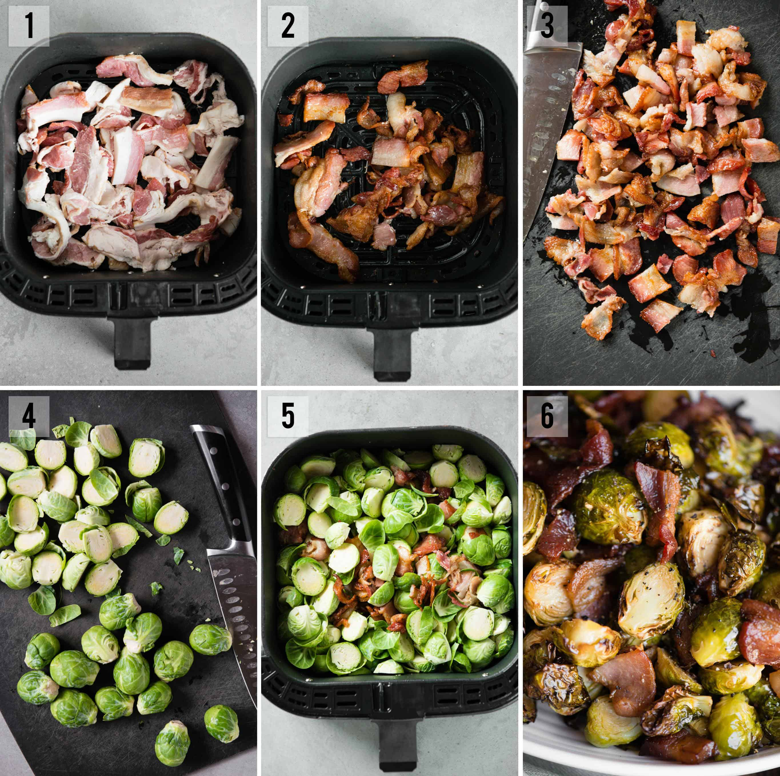 air fryer Brussels Sprouts and Bacon process photos