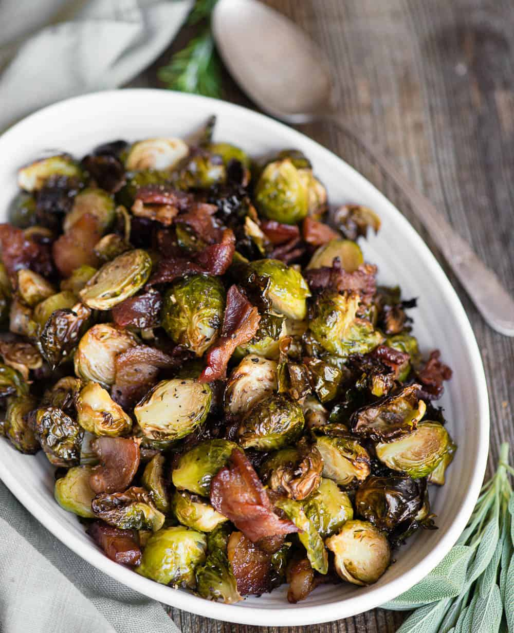 Brussels Sprouts and Bacon on platter