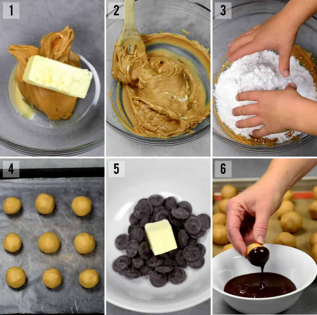 process photos of how to make no bake peanut butter balls dipped in chocolate