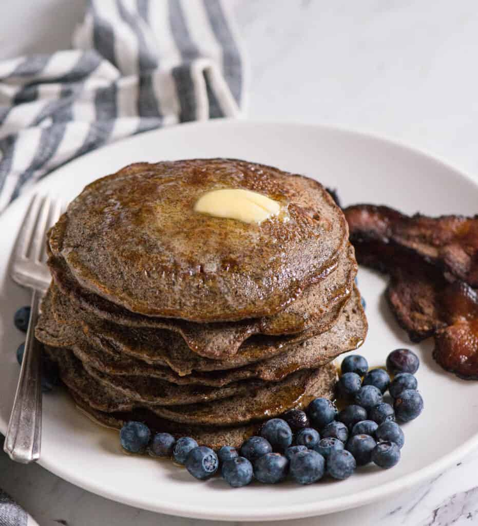 homemade Buckwheat Pancakes with butter and syrup