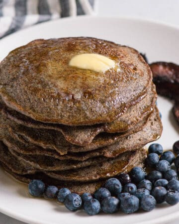 stack of Buckwheat Pancakes with blueberries