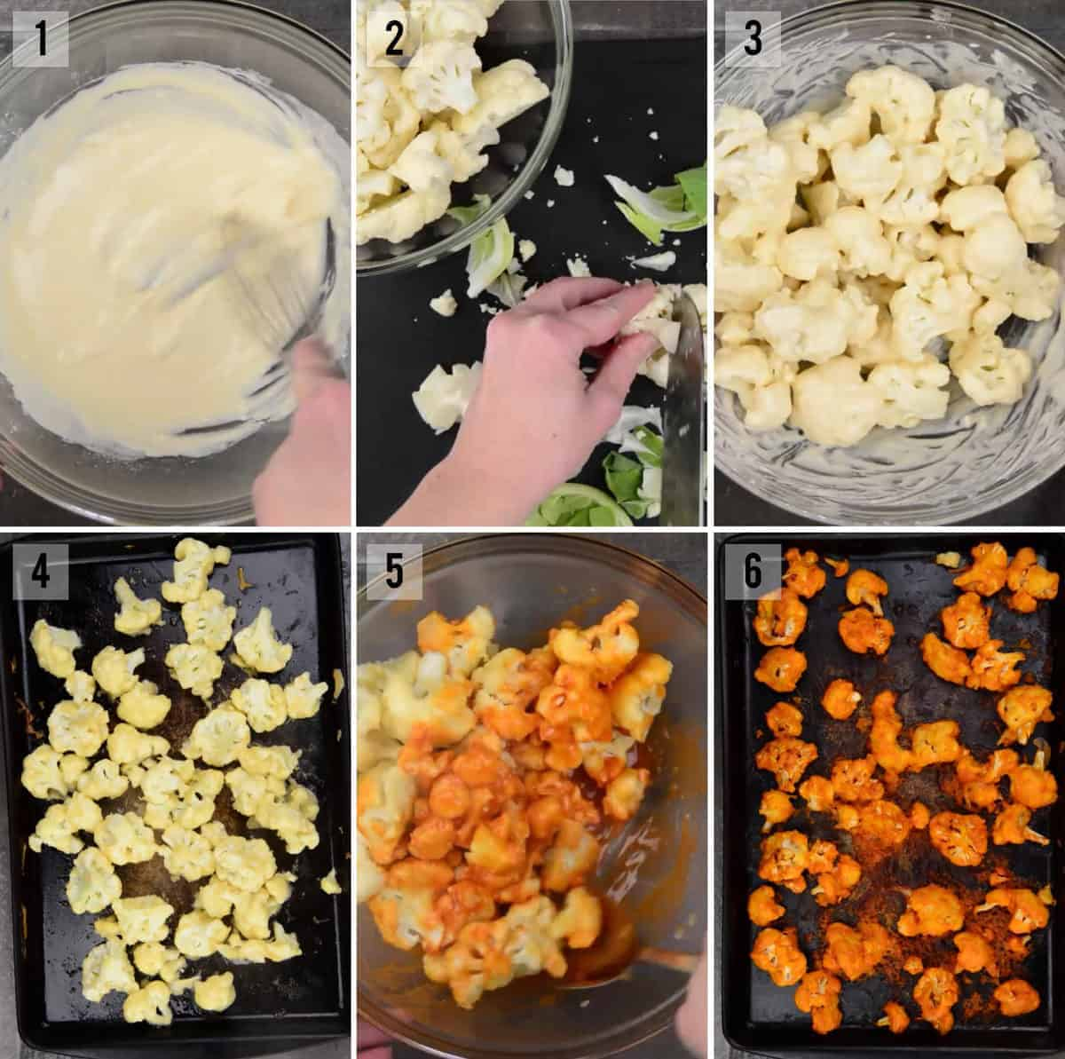 step by step process photos to make Buffalo cauliflower