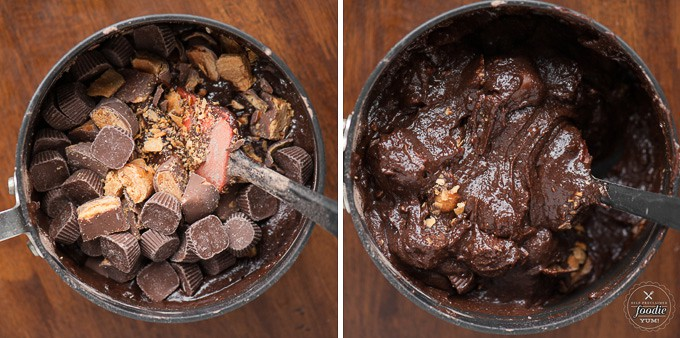 two stages of butterfinger overload brownies