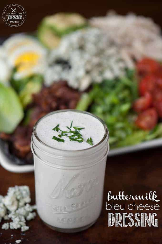 Its super easy to make your own homemade Buttermilk Bleu Cheese Dressing. The end result is a super tasty dressing or dip that is made without any additives.