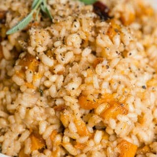 close up view of homemade Butternut Squash Risotto