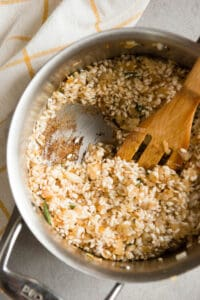 browning risotto in pan