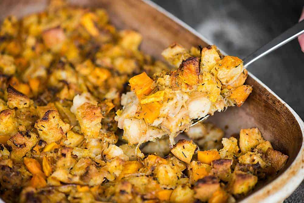 Butternut Squash Leek Stuffing is a fall favorite, perfect for Thanksgiving. This classic dressing side dish can be a great vegetarian option too!