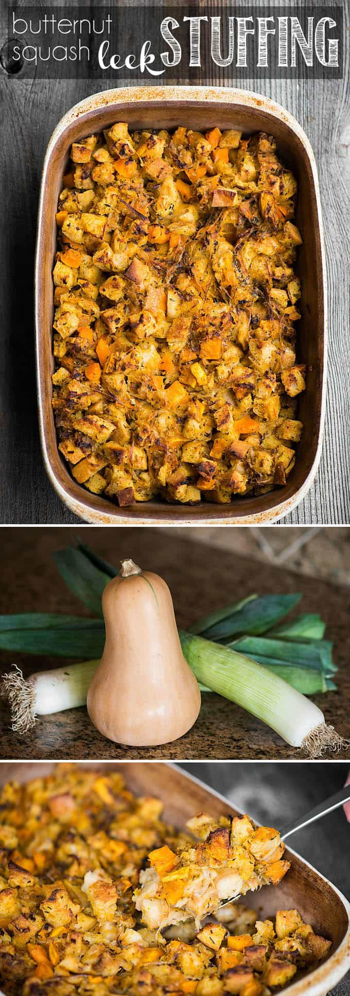 Butternut Squash Leek Stuffing is a fall favorite, perfect for Thanksgiving. This classic dressing side dish can be a great vegetarian option too! #stuffing #thanksgiving #butternut