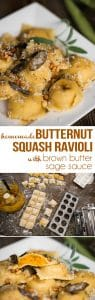 Homemade Butternut Squash Ravioli with Brown Butter Sage Sauce, made with pasta dough from scratch and roasted garlic and butternut, tastes like heaven.