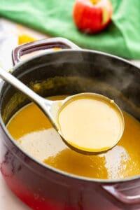 ladel of butternut soup