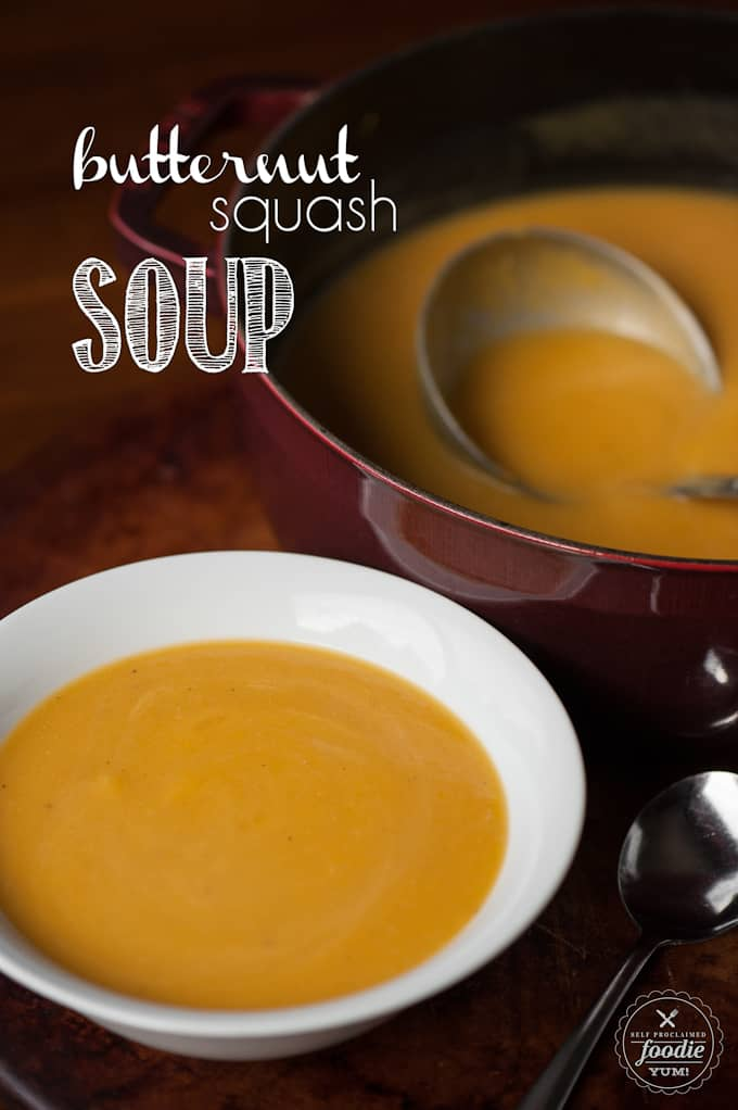 My version of Butternut Squash Soup combines creamy roasted butternut squash with the fresh fall flavor of honeycrisp apple creating a healthy autumn soup.