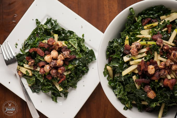This delicious Candied Hazelnut Kale Apple Bacon Salad is bursting with flavor and the perfect addition to any dinner, including Thanksgiving.