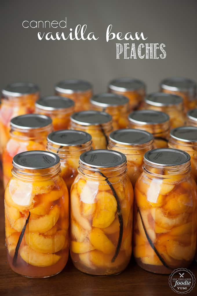 homemade canned peaches with vanilla beans