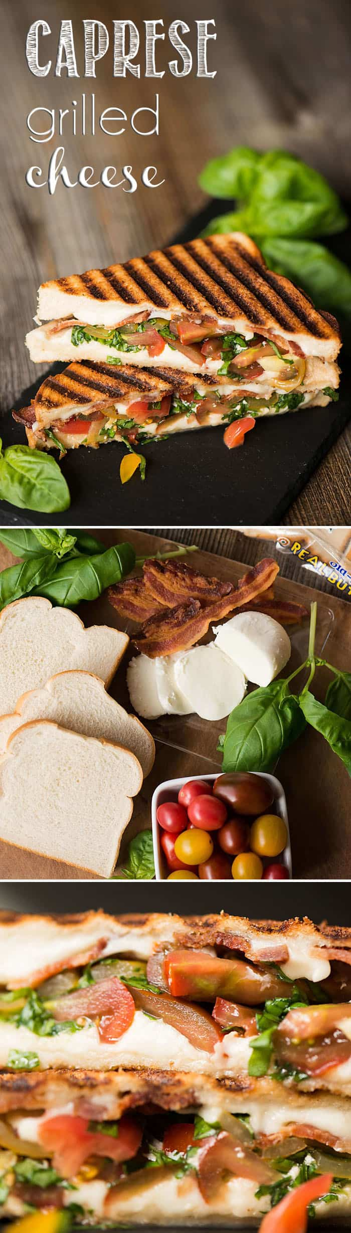 I can't think of a better lunch than this Caprese Grilled Cheese made with crisp bacon, soft mozzarella, tomatoes, basil, and super soft bread!