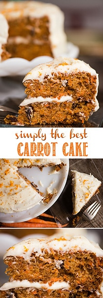 Carrot Cake, loaded with tons of freshly grated carrots and covered with cream cheese frosting, is simply the best moist cake recipe you'll ever make. This simple carrot cake recipe is super easy to make from scratch. Each bite is loaded with flavor and it really is so moist that it will melt in your mouth! #carrotcake #carrot #carrotcakerecipe #bestcarrotcake #moistcarrotcake #cake