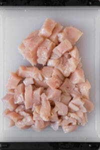 uncooked chicken breast cut into bite sized pieces