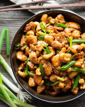 bowl of homemade Cashew Chicken