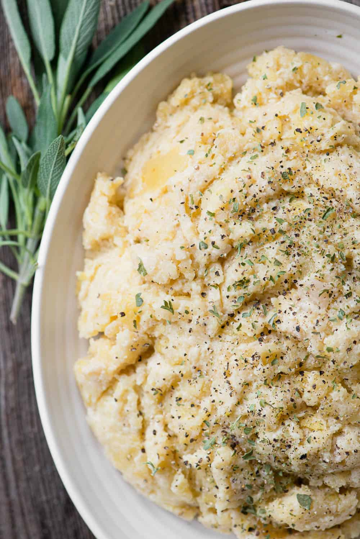 top view of homemade Cauliflower Mashed Potatoes