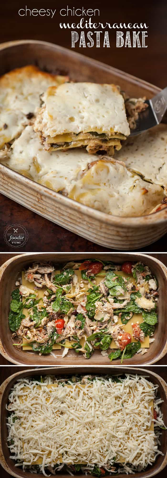 Cheesy Chicken Mediterranean Pasta Bake is an easy to make flavorful one dish dinner full of tons of tasty ingredients that your entire family will love.