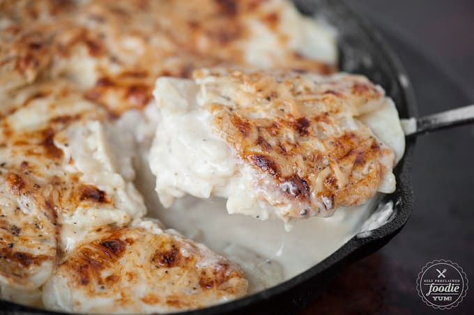A close up of homemade scalloped potatoes