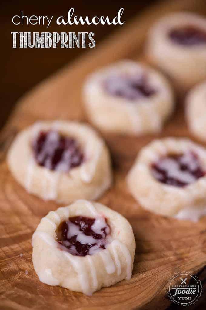 cherry almond thumbprints on a table