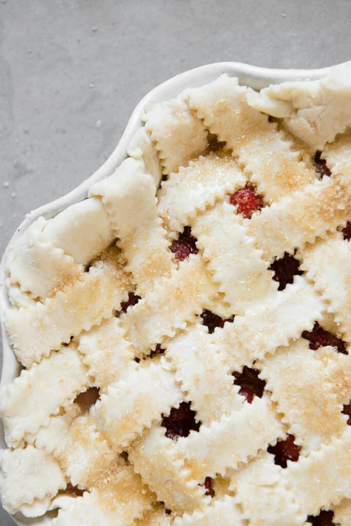 uncooked pie with lattice weave