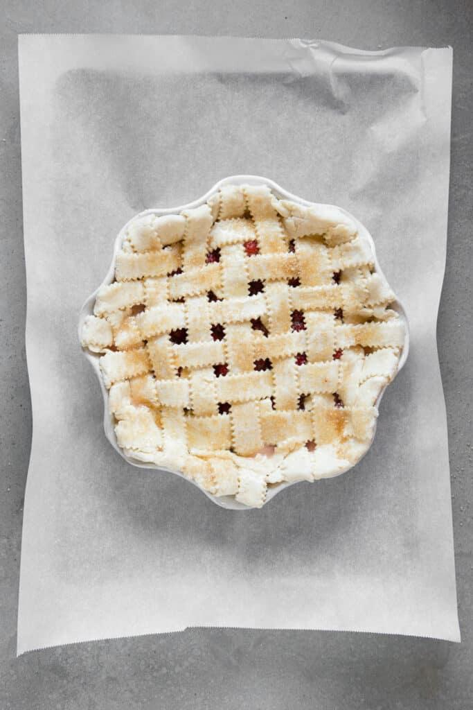 lattice weave fruit pie prior to cooking
