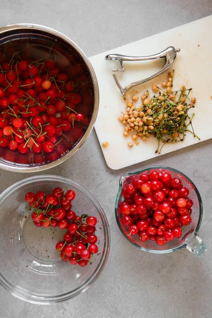 tart cherry pitting process photo