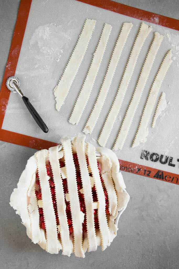 strips of pie dough added to top of pie