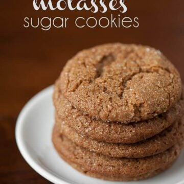 a stack of homemade molasses sugar cookies