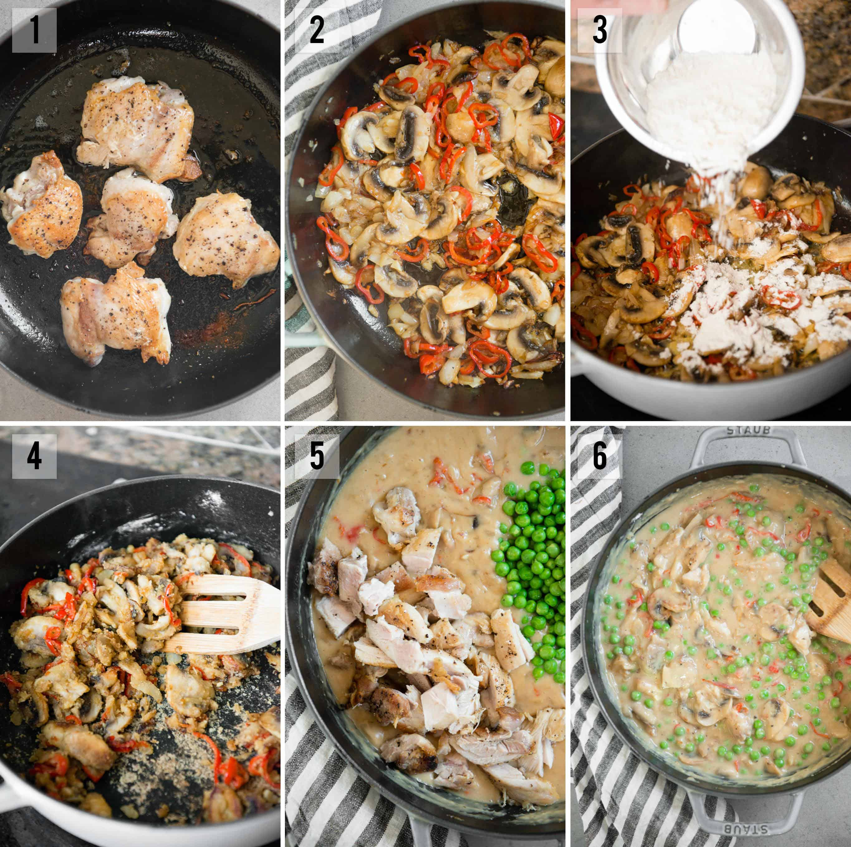 step by step instructions on how to make Chicken a la King