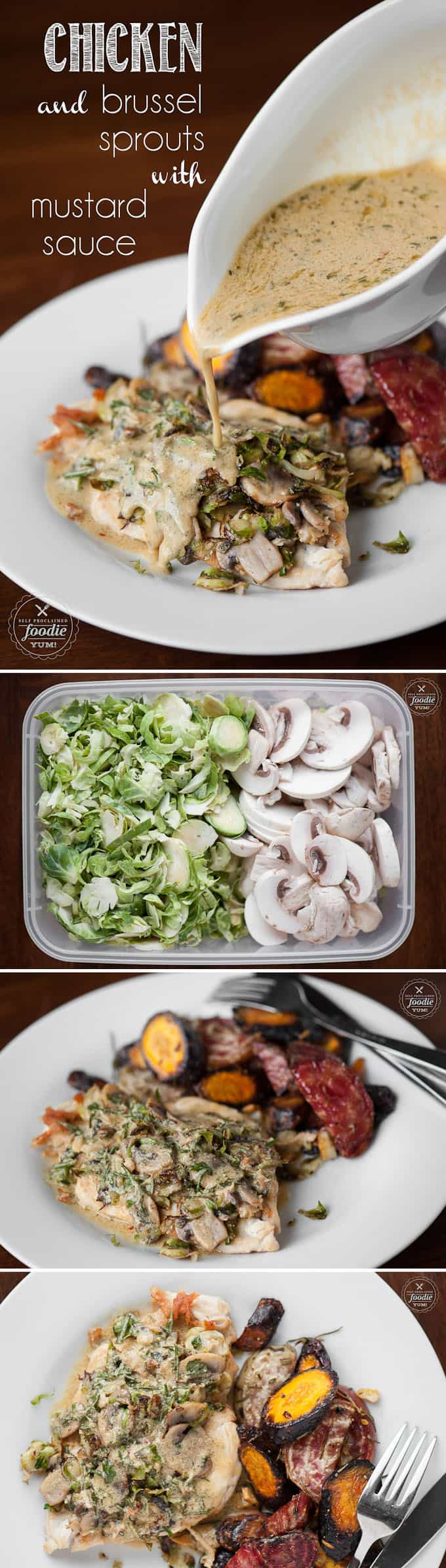 Chicken and Brussel Sprouts with Mustard Sauce is a healthy and low carb meal option that pairs an easy chicken dinner idea with sauteed brussel sprouts.