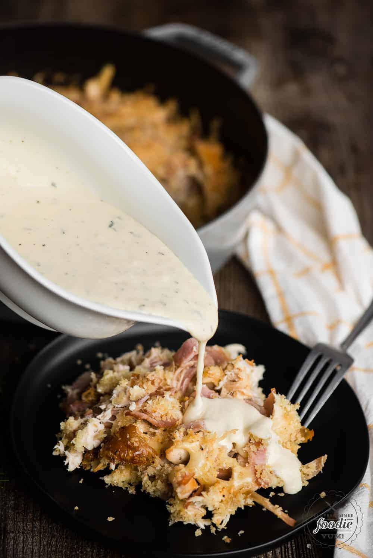 dijon mustard sauce over chicken cordon bleu casserole