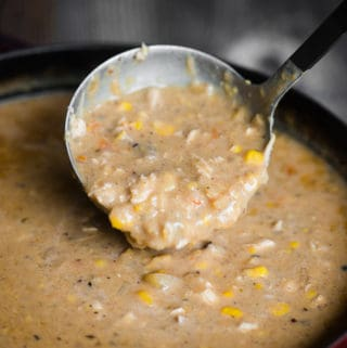 Chicken Corn Chowder is a creamy and hearty soup that is packed full of flavor. It's creamy but still has just the right amount of chunks. Perfectly cooked potatoes and a rich broth give the soup body. Crisp bacon adds fantastic texture and taste. Your family will love this chicken chowder for dinner!