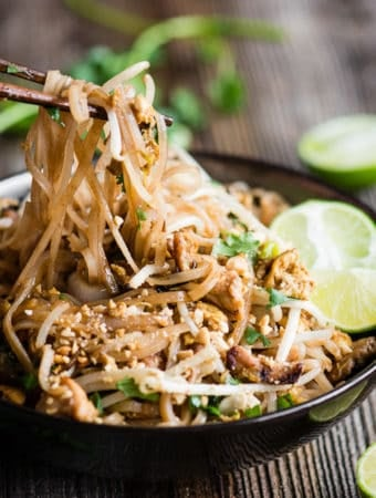 Chicken Pad Thai with rice noodles, peanuts, bean sprouts