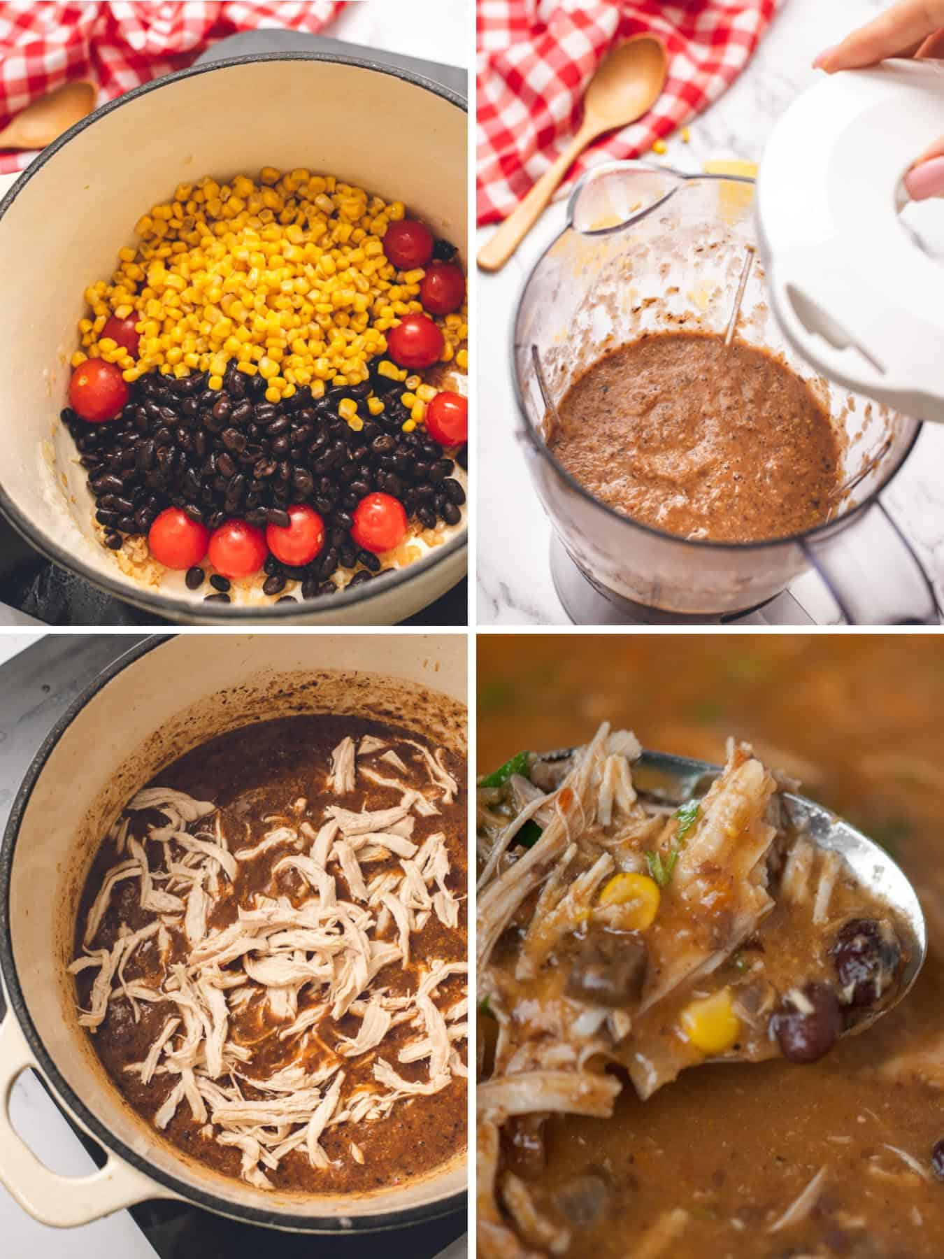 step by step photos for how to make a soup with chicken corn beans and tortilla chips
