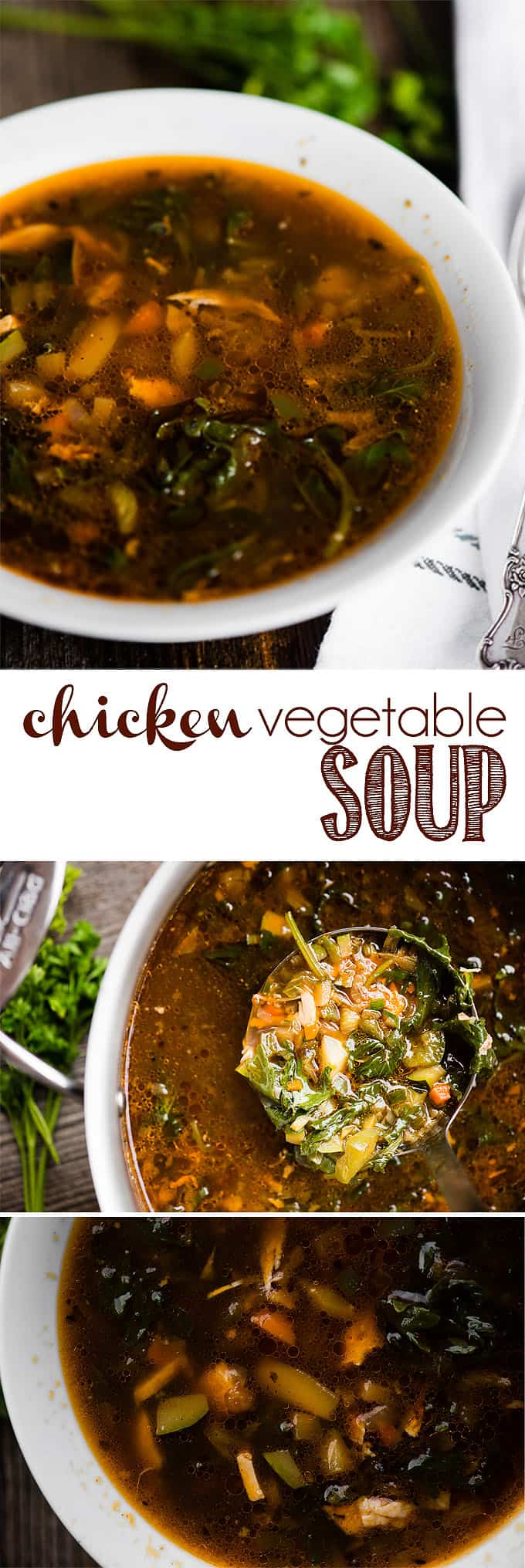 Chicken Vegetable Soup, made with homemade chicken broth and loaded with healthy veggies, is not only a delicious and satisfying meal, but it's nutritious. What's better when you're not feeling well than a homemade chicken soup? Feed your body and soul with this nourishing and comforting bowl of healthy soup! #chicken #soup #chickensoup #chickenvegetablesoup #homemade #homemadesoup