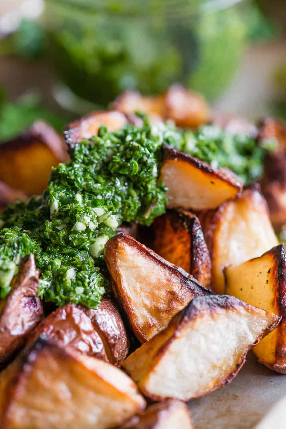 roasted potatoes topped with homemade Chimichurri sauce