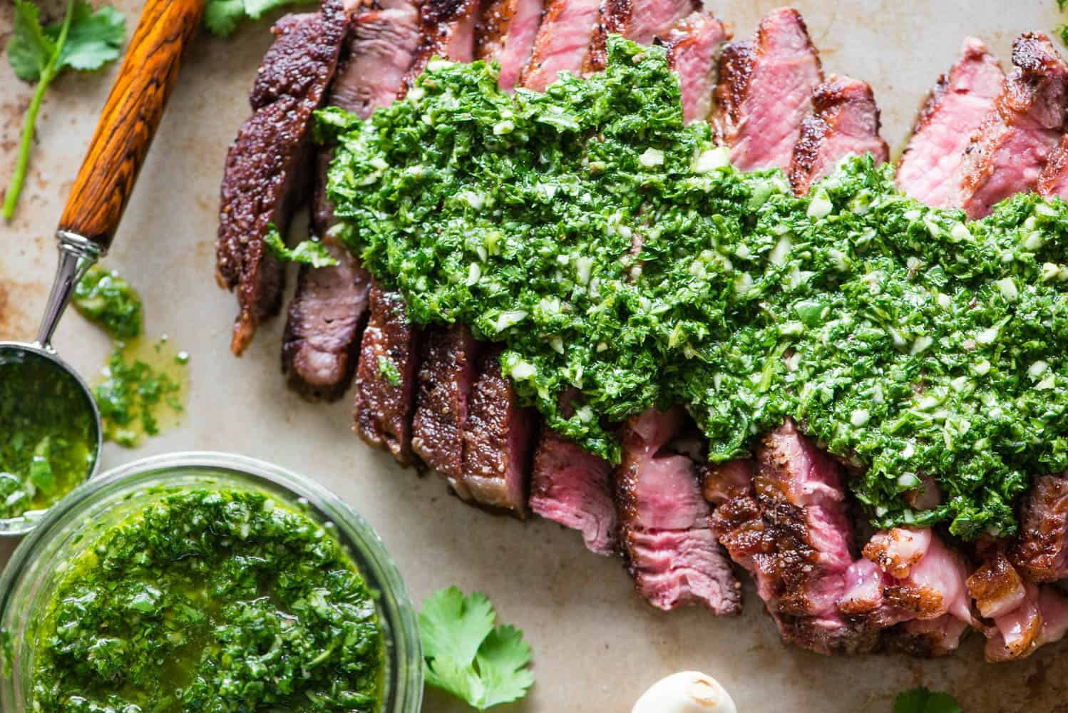pan seared rib eye steak with Chimichurri Sauce
