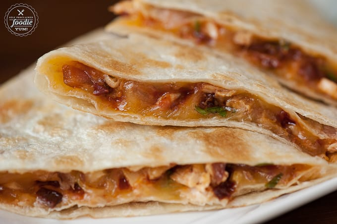 A close up of Chicken Quesadillas with chipotle