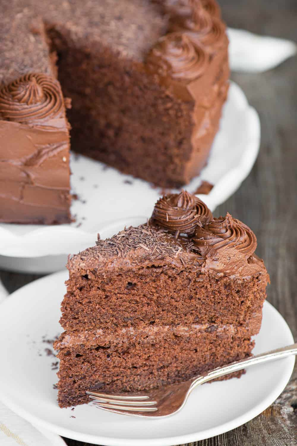 slice of Chocolate Cake on white plate with chocolate frosting