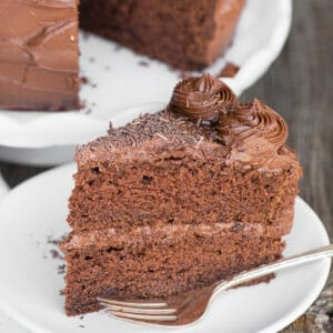 slice of homemade chocolate cake on plate