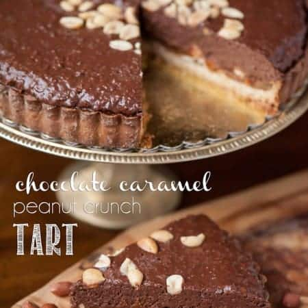 This Chocolate Caramel Peanut Crunch Tart has everything you could ever want in a dessert - a sugar cookie crust, a rich peanut caramel layer, and a crunchy chocolate peanut butter top.